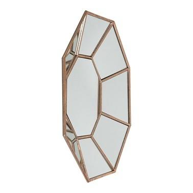 Vitale Vitale Lux 51 cm Altıgen Bronz Duvar Aynası Renkli